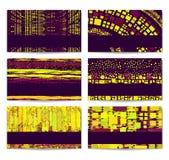 De moderne Reeks van het Adreskaartje. Purper-gele abstractio Royalty-vrije Stock Foto's