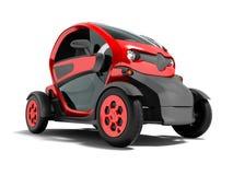 De moderne rode elektrische auto voor stadsreizen aan twee zetels in 3D salon geeft op witte achtergrond met schaduw terug royalty-vrije illustratie