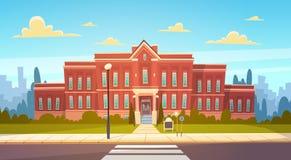 De moderne Schoolbouw Buiten met Zebrapadonthaal terug naar Onderwijsconcept royalty-vrije illustratie
