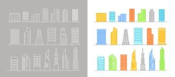 De moderne silhouetten van stadselementen Stock Fotografie