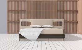 De moderne slaapkamer verfraait met latje Royalty-vrije Stock Fotografie