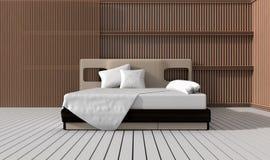 De moderne slaapkamer verfraait met latje Stock Foto's