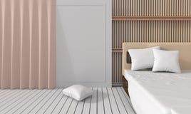 De moderne slaapkamer verfraait met latje Royalty-vrije Stock Afbeelding