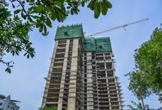 De moderne stedelijke bouw in aanbouw stock afbeelding