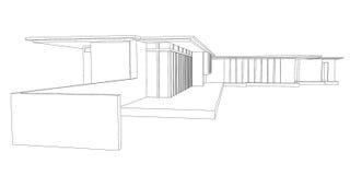 De moderne Tekening van het Perspectief van het Huis Royalty-vrije Stock Afbeeldingen