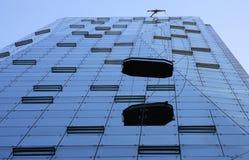 De moderne unieke bouw die wordt schoongemaakt Stock Fotografie