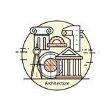 De moderne van het de kunstontwerp van de kleuren dunne lijn architectuur en de bouw stock illustratie