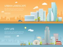 De moderne vectorillustratie van de Webbanner van stedelijk landschap met gebouwen, winkel en opslag, vervoer Vlakke stad Stock Foto