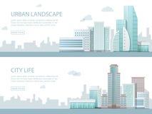 De moderne vectorillustratie van de Webbanner van stedelijk landschap met gebouwen, winkel en opslag, vervoer Vlakke stad Royalty-vrije Stock Afbeeldingen