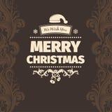De moderne vectorkaart van Kerstmisgroeten van het stijl bruine lichtgeele kleurenschema vrolijke Stock Afbeelding