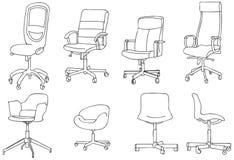 De moderne Vectorlijn Art Illustration van de Bureaustoel Stock Fotografie