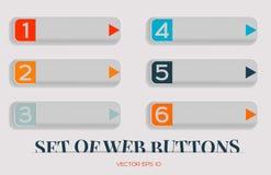 De moderne vectorreeks knopen voor website, kan als reclamebanner, of wijzer worden gebruikt Het Ontwerp van het Web Stock Afbeelding