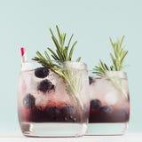 De moderne verfrissende dranken in glazen met ijsblokjes, bosbes, rozemarijn, stro op witte houten raad en pastelkleurmunt kleure royalty-vrije stock afbeeldingen
