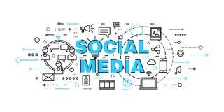 De moderne vlakke dunne vectorillustratie van het lijnontwerp, concept sociale media, sociaal voorzien van een netwerk, Webcommun Royalty-vrije Stock Afbeeldingen
