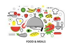 De moderne vlakke dunne vectorillustratie van het lijnontwerp, concepten eigengemaakt voedsel en restaurantmaaltijd Royalty-vrije Stock Afbeeldingen