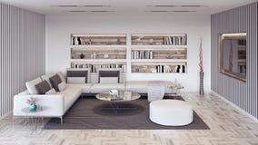 De moderne Woonkamer met witte en grijze elementen, binnenlands 3D ontwerp geeft terug stock afbeeldingen