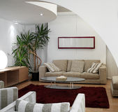 De moderne woonkamer van de luxe Royalty-vrije Stock Afbeeldingen