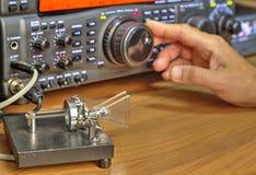 De moderne zendontvanger van de hoge frequentie radioamateur royalty-vrije stock fotografie