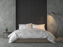 De moderne zolderslaapkamer met zwarte houten 3d plank geeft terug royalty-vrije illustratie