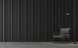 De moderne zolderwoonkamer met zwarte 3d staallatjes geeft terug royalty-vrije illustratie