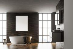 De moderne zwarte van de badkamers binnenlandse affiche Stock Fotografie