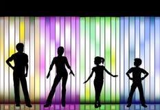 De Modeshow van de familie op kleurrijke Achtergrond Stock Afbeelding