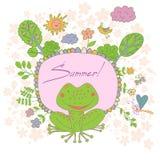 De modieuze die beeldverhaalkaart van leuke bloemen wordt gemaakt, doodled kikker Stock Foto