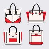 De modieuze geplaatste pictogrammen van de vrouwen rode, zwart-witte beurs Vector Illustratie