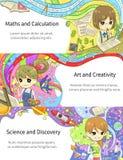 De modieuze kleurrijke infographic kinderen die van het beeldverhaalmeisje wiskunde bestuderen Royalty-vrije Stock Afbeelding