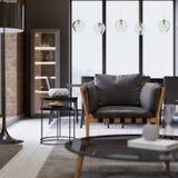 De modieuze leunstoel van het ontwerperleer met een zwarte staande lamp in zolder-stijl flats royalty-vrije illustratie