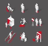 De modieuze pictogrammen van winkelcomplexfaciliteiten Stock Afbeelding