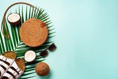 De modieuze rotanzak, kokosnoot, birkenstocks, palm vertakt zich, zonnebril op blauwe achtergrond banner Hoogste mening met exemp stock afbeelding