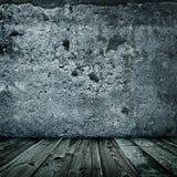 De modieuze textuur van de grungemuur en houten vloer Stock Afbeeldingen