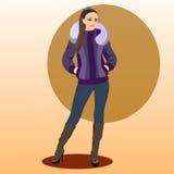 De modieuze vrouw in een de winterjasje Stock Afbeelding