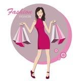 De modieuze vrouw met zakken voor koopt royalty-vrije illustratie