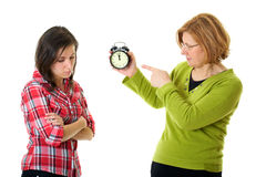De moeder debatteert met haar dochter voor laat het zijn Royalty-vrije Stock Foto