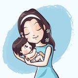 De moeder en de baby omhelzen met zuivere liefde royalty-vrije illustratie
