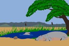 De moeder en de baby van Hippo in meer Stock Afbeeldingen