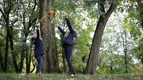 De moeder en de dochter werpen op gele bladeren in de herfstpark stock videobeelden