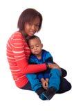 De moeder en het kind van het portret Stock Foto