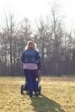 De moeder loopt met de kinderwagen Stock Afbeeldingen