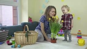 De moeder met van de het meisjesgeur en aanraking van de babydochter narcissen bloeit het groeien in pot stock video