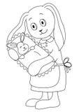 De moeder van het konijn met het kind, contouren Stock Afbeeldingen