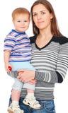 De moeder van Smiley met zoon Stock Fotografie