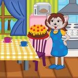 De moederkat bakte een cake in keuken Stock Fotografie