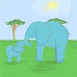 De moederolifant en de babyolifant koesteren de boomstam vector illustratie