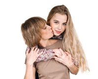 De moeders kussen Royalty-vrije Stock Afbeeldingen