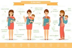 De moeders met zijn babys in slinger bellen Royalty-vrije Stock Foto