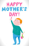 De Moedersdag van de groetkaart in de stijl van de tekeningen van kinderen Royalty-vrije Stock Foto's