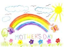 De moedersdag van de kindtekening Stock Afbeeldingen
